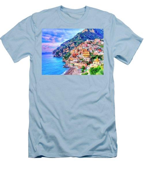 Amalfi Coast At Positano Men's T-Shirt (Slim Fit) by Dominic Piperata
