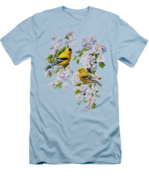 American Goldfinch Spring Men's T-Shirt (Slim Fit) by Crista Forest