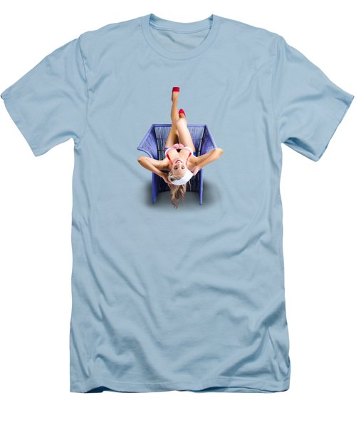 American Pinup Woman Upside Down On Cane Chair Men's T-Shirt (Slim Fit) by Jorgo Photography - Wall Art Gallery