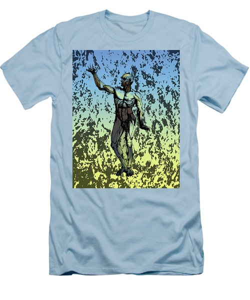 Anatomical Man In Blue And Yellow Men's T-Shirt (Athletic Fit)