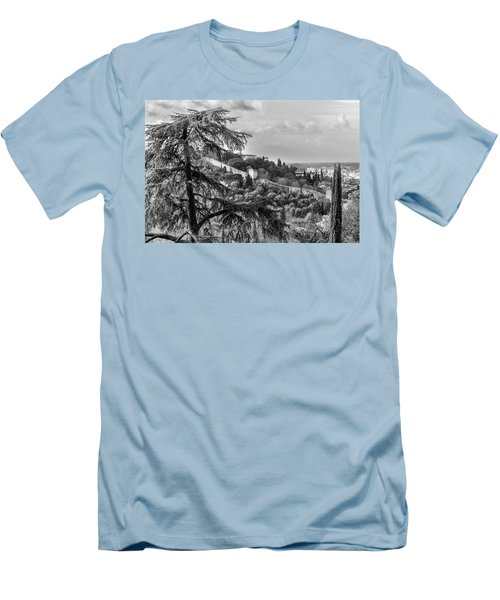 Men's T-Shirt (Slim Fit) featuring the photograph Ancient Walls Of Florence-bandw by Sonny Marcyan