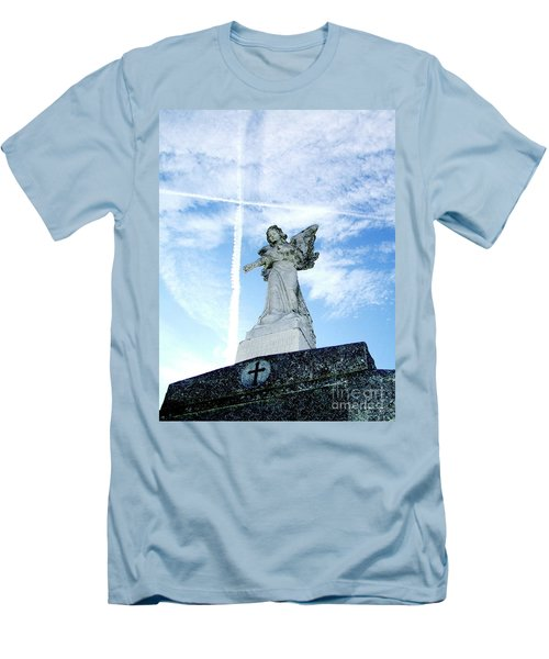 Angel And Crosses Men's T-Shirt (Athletic Fit)