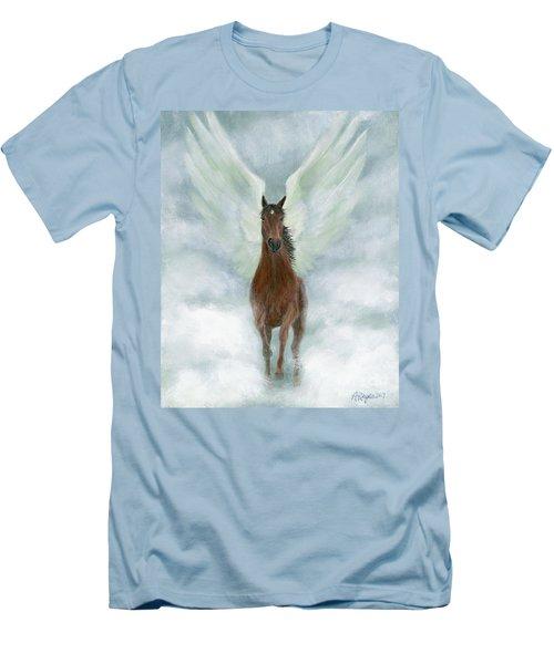 Angel Horse Running Free Across The Heavens Men's T-Shirt (Slim Fit)