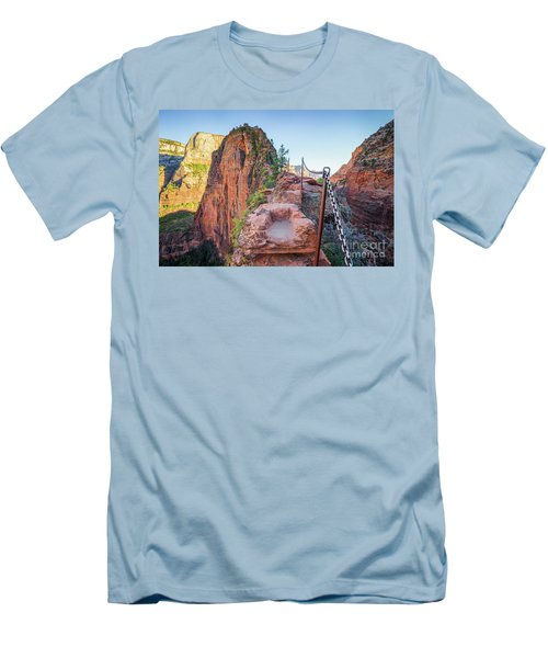 Angels Landing Hiking Trail Men's T-Shirt (Slim Fit) by JR Photography