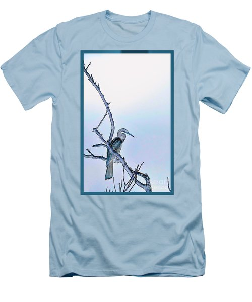 Anhinga In Blue Men's T-Shirt (Slim Fit) by Pamela Blizzard