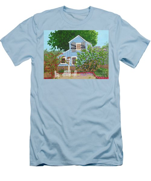 Men's T-Shirt (Slim Fit) featuring the painting Antique Shop, Cambria Ca by Katherine Young-Beck
