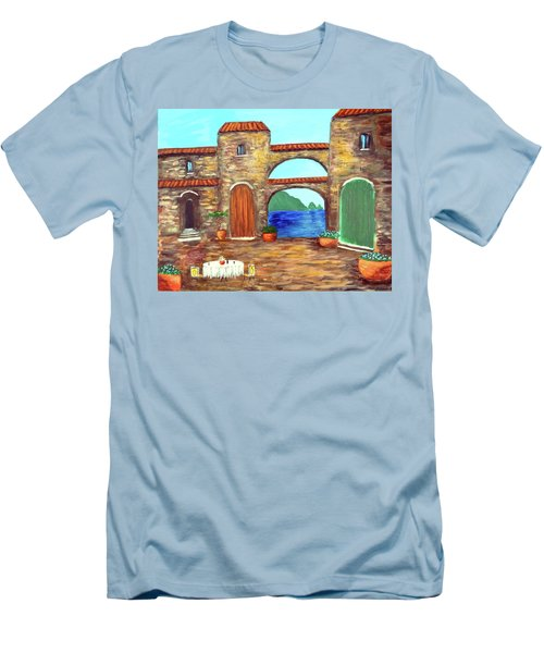 Men's T-Shirt (Slim Fit) featuring the painting Arches Of Amalfi  by Larry Cirigliano