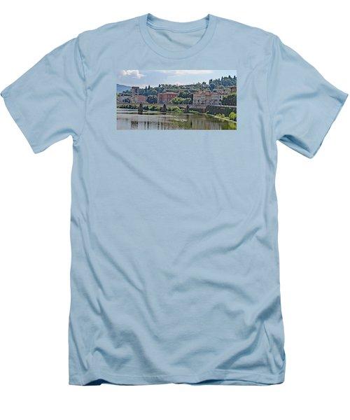 Arno River And Bridge Men's T-Shirt (Slim Fit) by Allan Levin