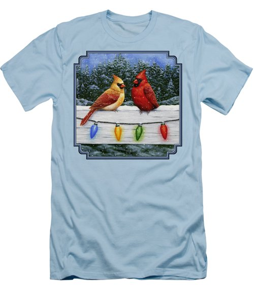 Bird Painting - Christmas Cardinals Men's T-Shirt (Slim Fit) by Crista Forest