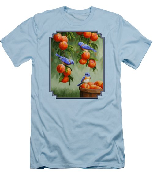 Bird Painting - Bluebirds And Peaches Men's T-Shirt (Slim Fit) by Crista Forest