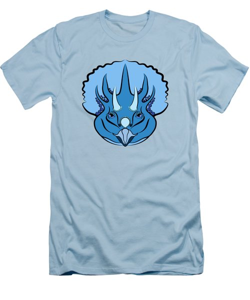 Triceratops Graphic Blue Men's T-Shirt (Slim Fit) by MM Anderson