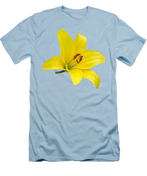 Yellow Asiatic Lily On Blue Men's T-Shirt (Slim Fit) by Jane McIlroy