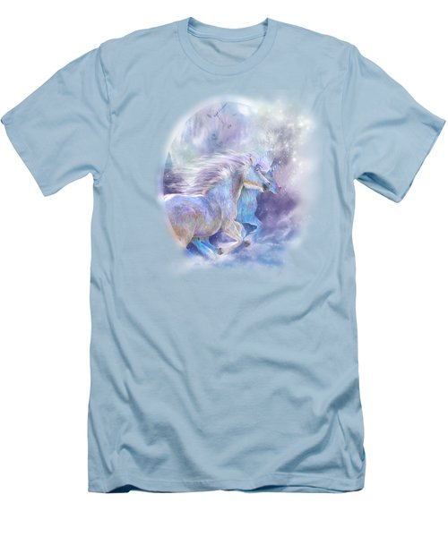 Men's T-Shirt (Slim Fit) featuring the mixed media Unicorn Soulmates by Carol Cavalaris