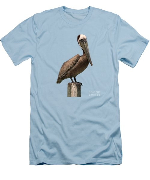 Pelican Perched On A Piling Men's T-Shirt (Slim Fit) by John Harmon