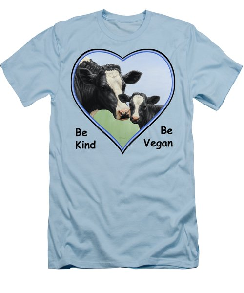 Holstein Cow And Calf Blue Heart Vegan Men's T-Shirt (Slim Fit) by Crista Forest