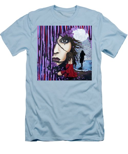 Men's T-Shirt (Slim Fit) featuring the painting Alone by Teresa Wing