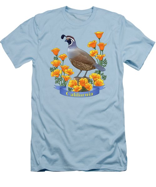 California Quail And Golden Poppies Men's T-Shirt (Slim Fit) by Crista Forest