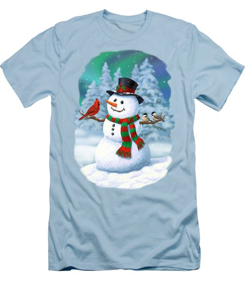 Sharing The Wonder - Christmas Snowman And Birds Men's T-Shirt (Slim Fit) by Crista Forest