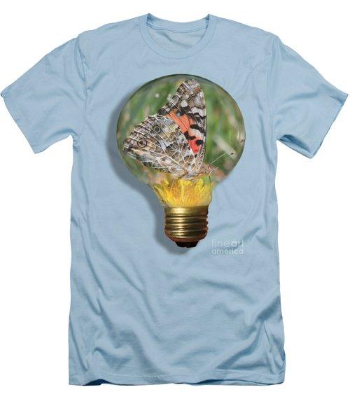 Butterfly In Lightbulb Men's T-Shirt (Slim Fit) by Shane Bechler