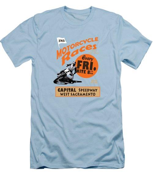 Motorcycle Speedway Races Men's T-Shirt (Slim Fit) by Mark Rogan