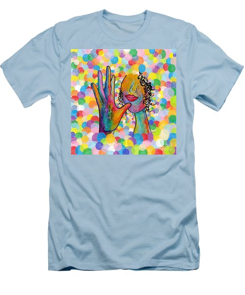 Asl Mother On A Bright Bubble Background Men's T-Shirt (Slim Fit) by Eloise Schneider