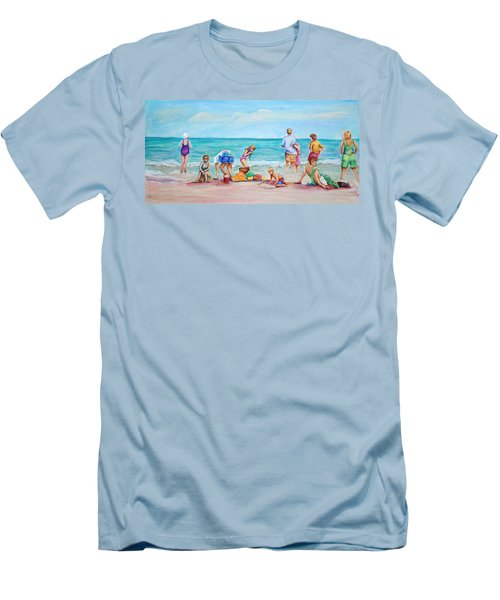 Men's T-Shirt (Slim Fit) featuring the painting At The Beach by Patricia Piffath