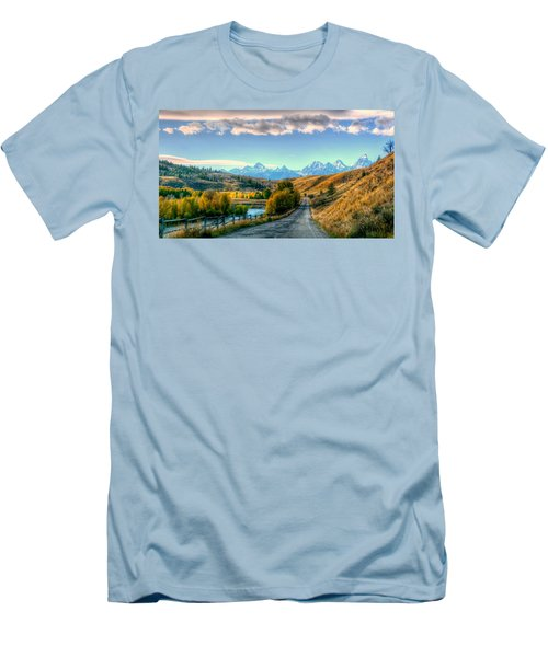 Atherton View Of Tetons Men's T-Shirt (Slim Fit) by Charlotte Schafer