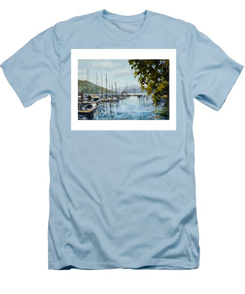 Attersee Austria Men's T-Shirt (Slim Fit) by Alexandra Maria Ethlyn Cheshire
