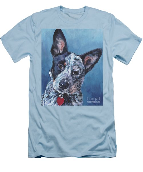 Men's T-Shirt (Slim Fit) featuring the painting Australian Cattle Dog by Lee Ann Shepard