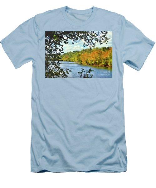 Autumn Along The New River - Bisset Park - Radford Virginia Men's T-Shirt (Athletic Fit)