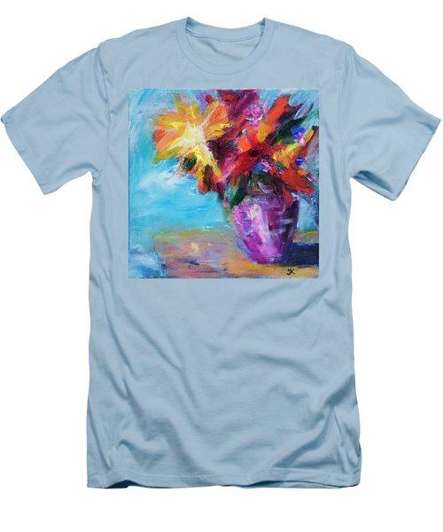 Colorful Flowers  Men's T-Shirt (Slim Fit) by Yulia Kazansky