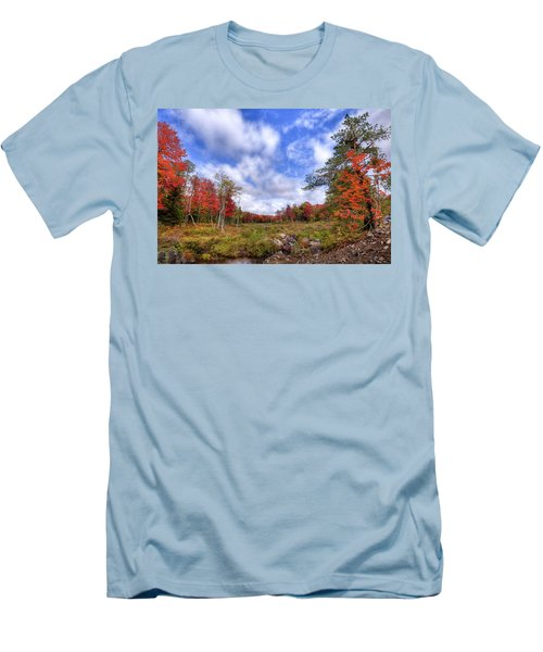 Men's T-Shirt (Slim Fit) featuring the photograph Autumn On The Stream by David Patterson