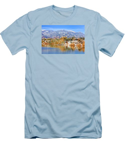 Men's T-Shirt (Slim Fit) featuring the photograph Autumn Snow At The Lake by Diane Alexander