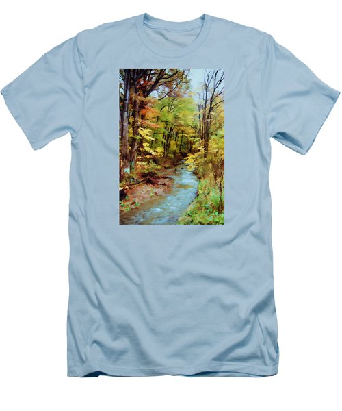 Men's T-Shirt (Slim Fit) featuring the photograph Autumn Stream by Diane Alexander
