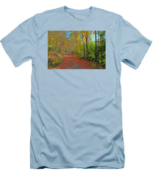 Men's T-Shirt (Slim Fit) featuring the digital art Autumn Walk by John Selmer Sr