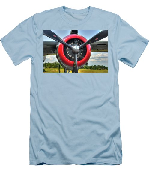 Men's T-Shirt (Athletic Fit) featuring the photograph B 25 Red Trimmed Engine by Gary Slawsky