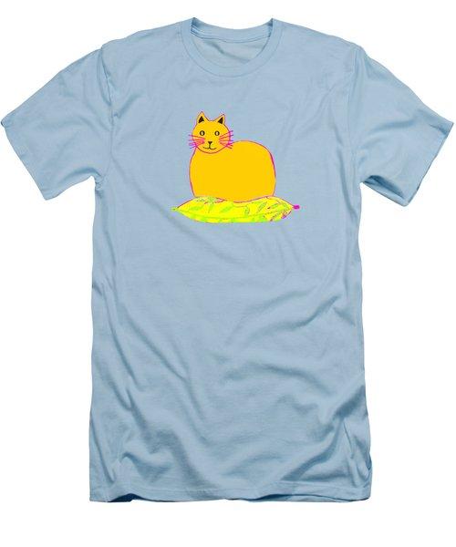 Background Colour Choice Saffron Cat Men's T-Shirt (Slim Fit) by Barbara Moignard