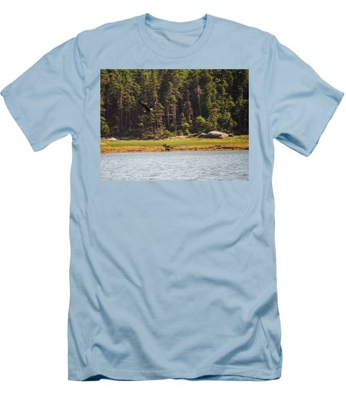 Bald Eagle In Flight Men's T-Shirt (Slim Fit) by Trace Kittrell