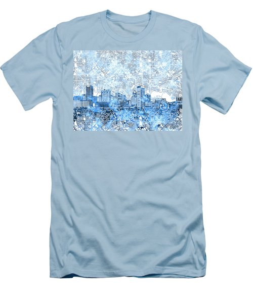 Men's T-Shirt (Slim Fit) featuring the painting Baltimore Skyline Watercolor 9 by Bekim Art