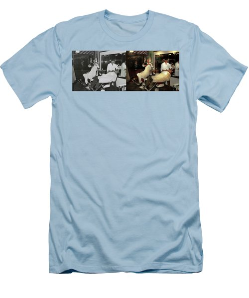 Men's T-Shirt (Slim Fit) featuring the photograph Barber - A Time Honored Tradition 1941 - Side By Side by Mike Savad