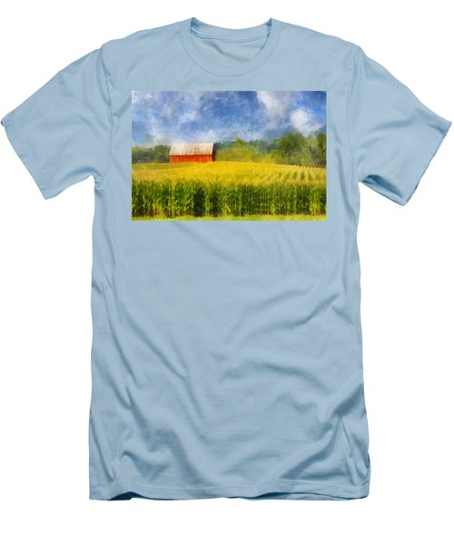 Men's T-Shirt (Slim Fit) featuring the digital art Barn And Cornfield by Francesa Miller