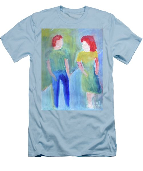 Men's T-Shirt (Slim Fit) featuring the painting Barney And Elizabeth by Sandy McIntire