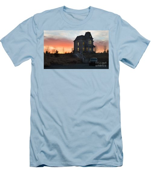 Bates Motel At Night Men's T-Shirt (Slim Fit) by Jim  Hatch