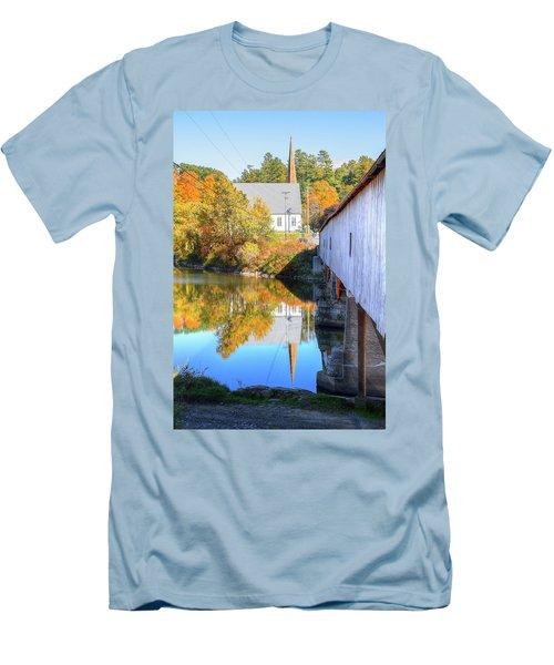 Bath Covered Bridge Men's T-Shirt (Athletic Fit)