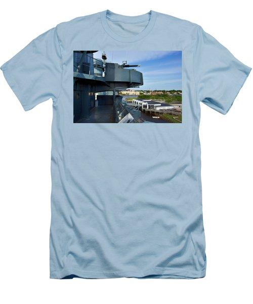 Battleship View Of Wilmington Nc Men's T-Shirt (Slim Fit) by Denis Lemay