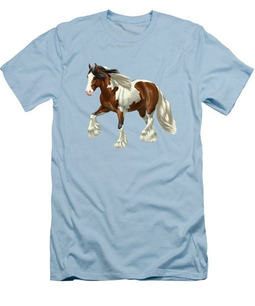 Bay Pinto Gypsy Vanner In Snow Men's T-Shirt (Athletic Fit)