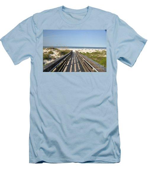 Men's T-Shirt (Slim Fit) featuring the photograph Beach Boardwalk by John Black
