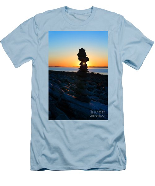 Beach Cairn At Sunrise Men's T-Shirt (Athletic Fit)
