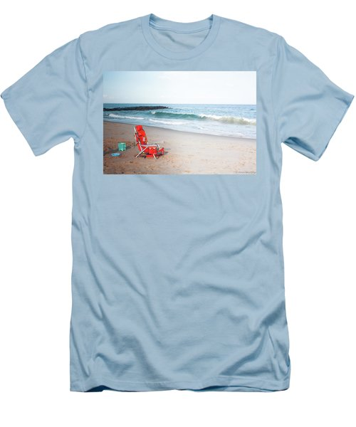 Beach Chair By The Sea Men's T-Shirt (Slim Fit) by Ann Murphy