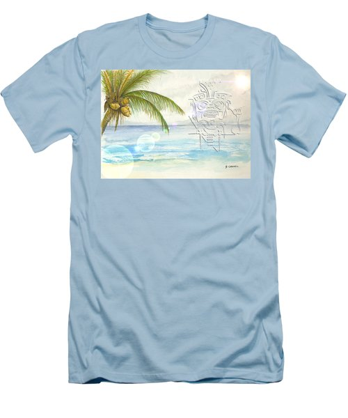 Men's T-Shirt (Athletic Fit) featuring the digital art Beach Etching by Darren Cannell